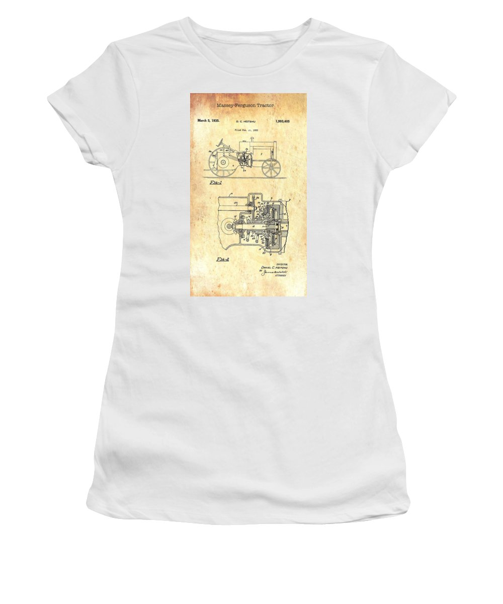 Patent Women's T-Shirt featuring the drawing Antique Massey-ferguson Tractor Patent 1935 by Mountain Dreams