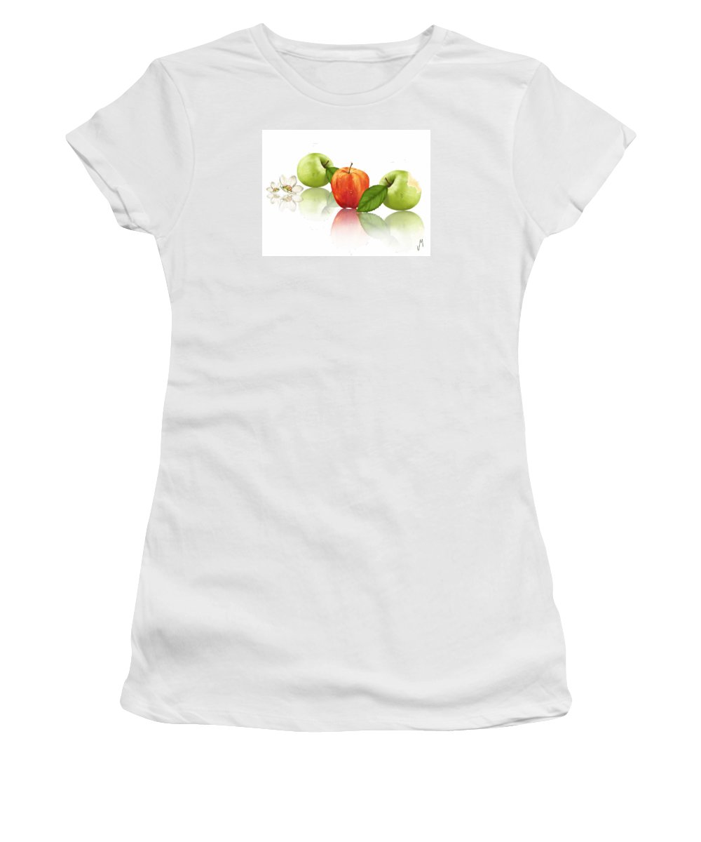 Ipad Women's T-Shirt (Athletic Fit) featuring the painting Apple Story by Veronica Minozzi
