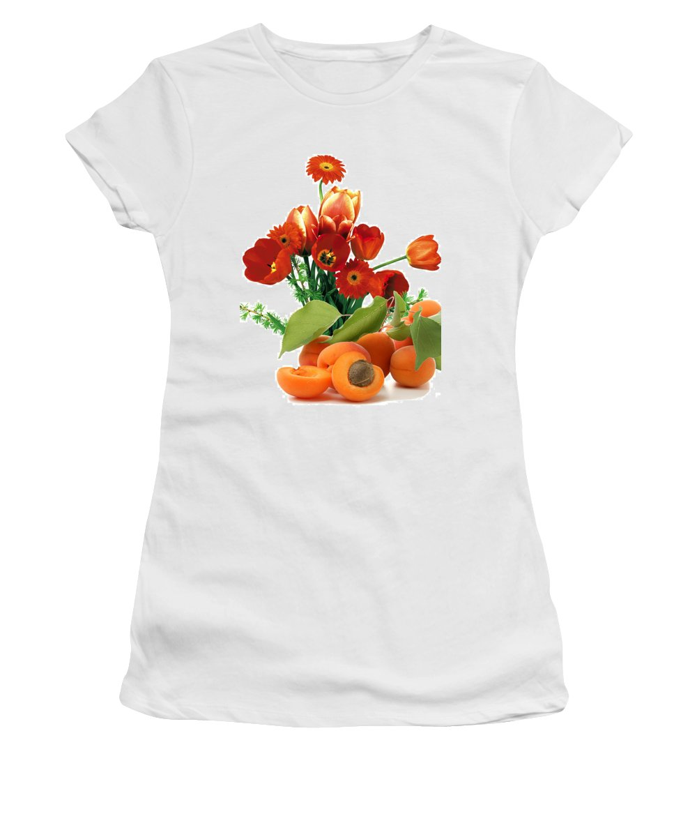 Apricots Women's T-Shirt (Athletic Fit) featuring the photograph Apricots And Red Roses by Munir Alawi