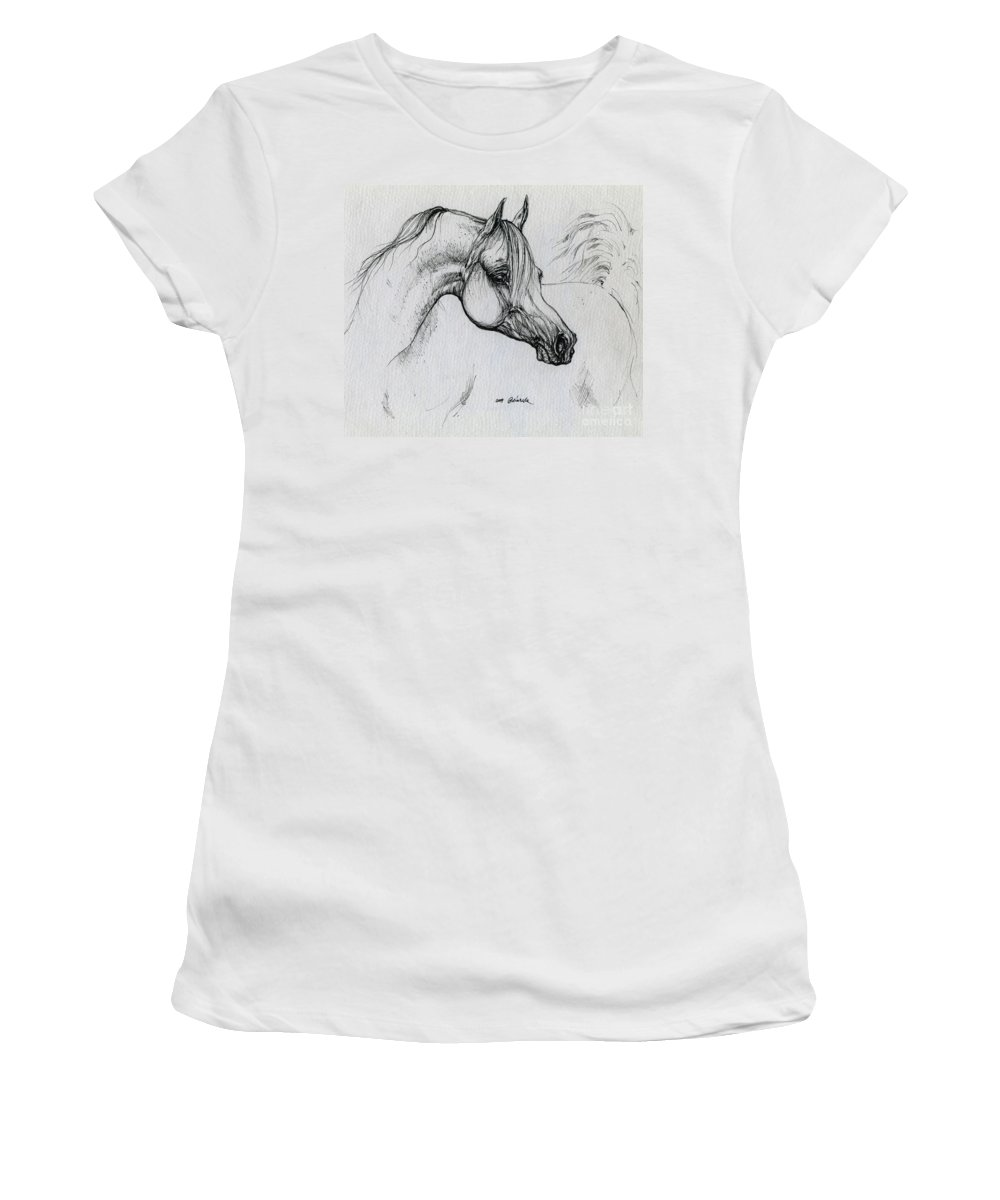 Horse Women's T-Shirt (Athletic Fit) featuring the drawing Arabian Horse Drawing 28 by Angel Ciesniarska
