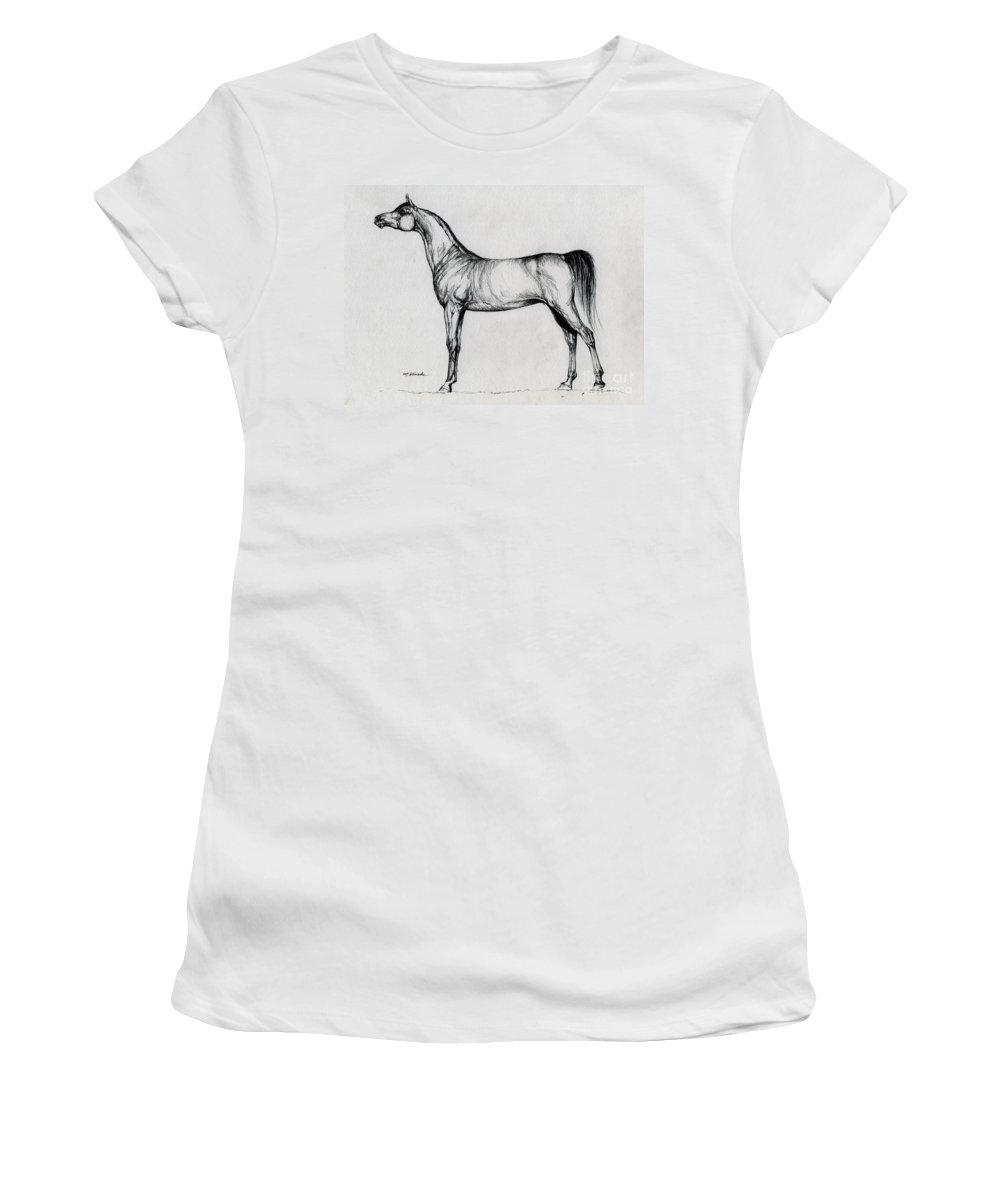 Arab Women's T-Shirt (Athletic Fit) featuring the drawing Arabian Horse Drawing 34 by Angel Ciesniarska