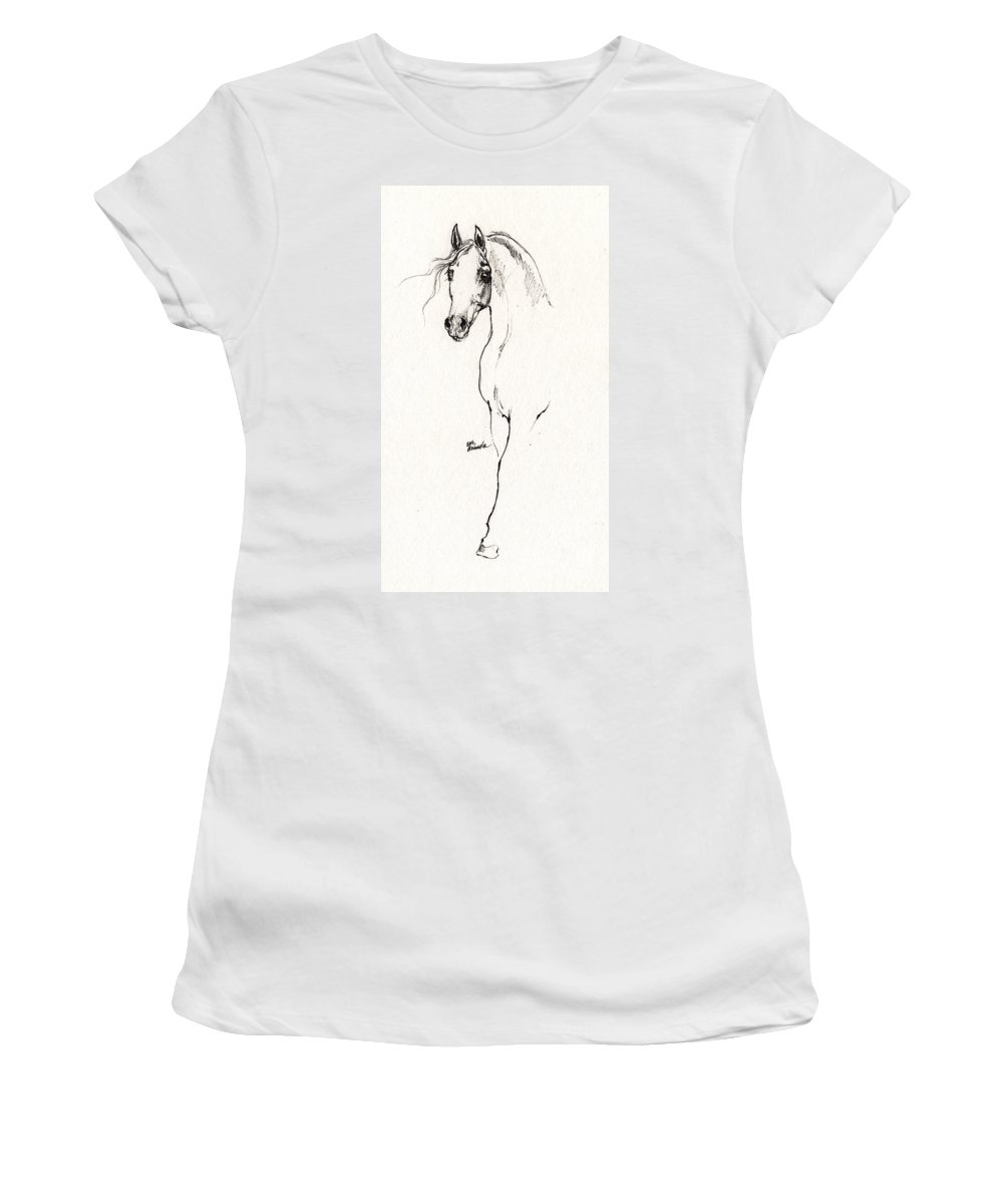 Horse Women's T-Shirt featuring the drawing Arabian Horse Sketch 2014 05 24 A by Angel Ciesniarska
