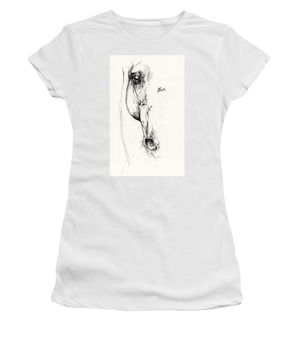 Horse Women's T-Shirt featuring the drawing Arabian Horse Sketch 2014 05 24 D by Angel Ciesniarska
