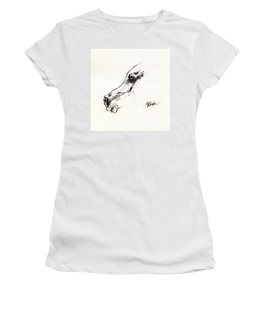 Horse Women's T-Shirt featuring the drawing Arabian Horse Sketch 2014 05 24 G by Angel Ciesniarska