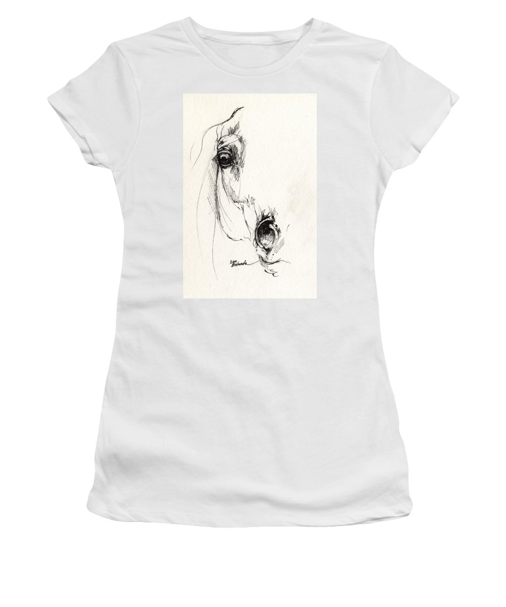 Horse Women's T-Shirt featuring the drawing Arabian Horse Sketch 2014 05 29c by Angel Ciesniarska