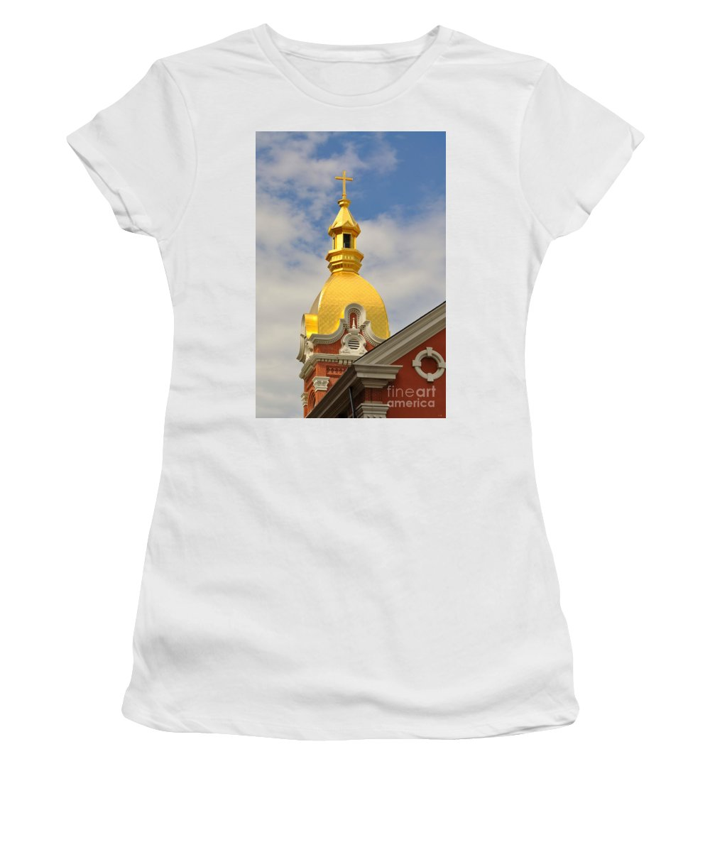 Architecture - Golden Cross Women's T-Shirt (Athletic Fit) featuring the photograph Architecture - Golden Cross by Liane Wright