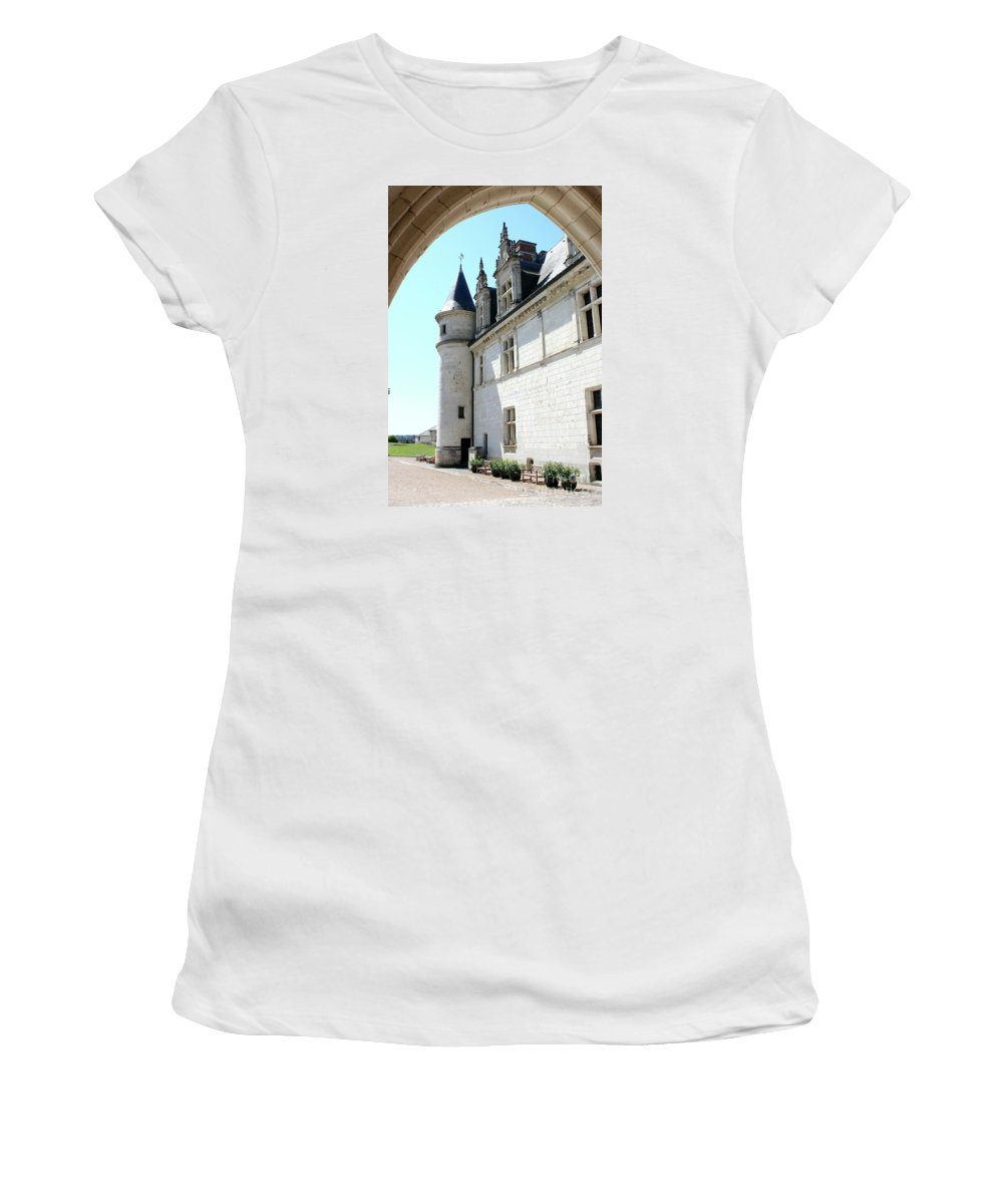 Castle Women's T-Shirt (Athletic Fit) featuring the photograph Archway View Chateau Amboise by Christiane Schulze Art And Photography