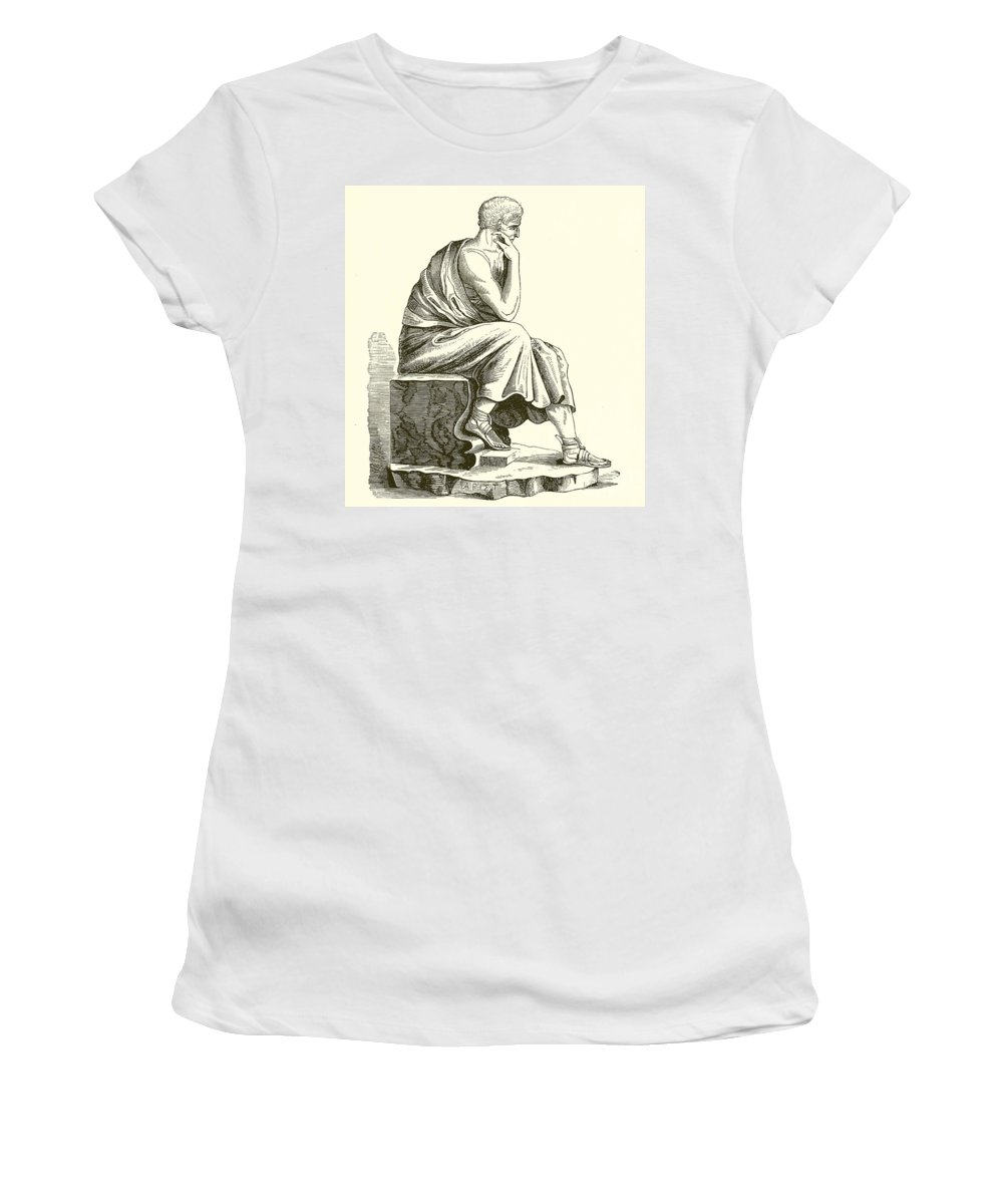 Aristotle Women's T-Shirt featuring the drawing Aristotle by English School