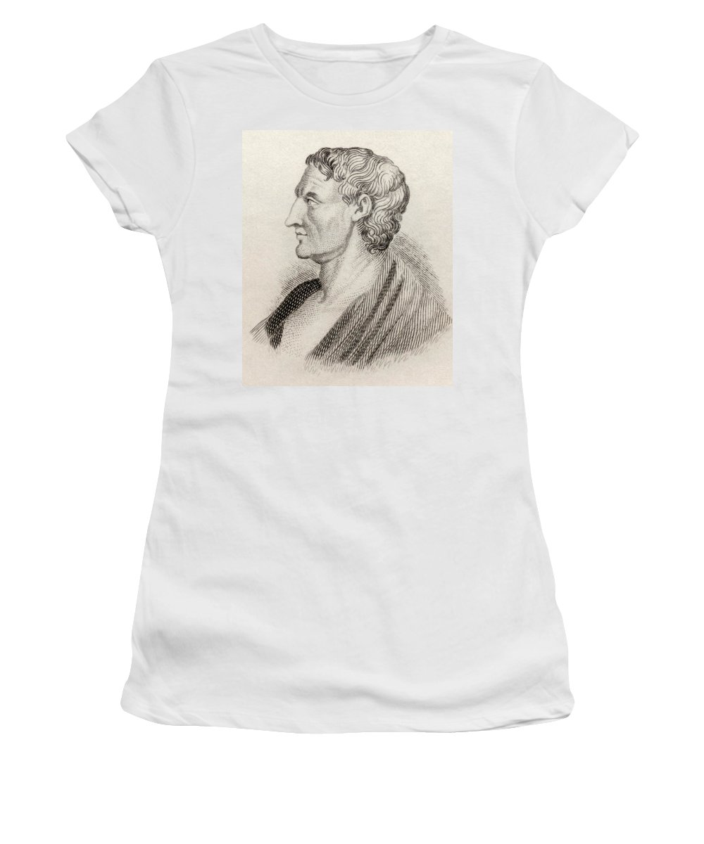 Male; Intellectual; Profile; Portrait Women's T-Shirt featuring the drawing Aristotle From Crabbes Historical Dictionary by English School