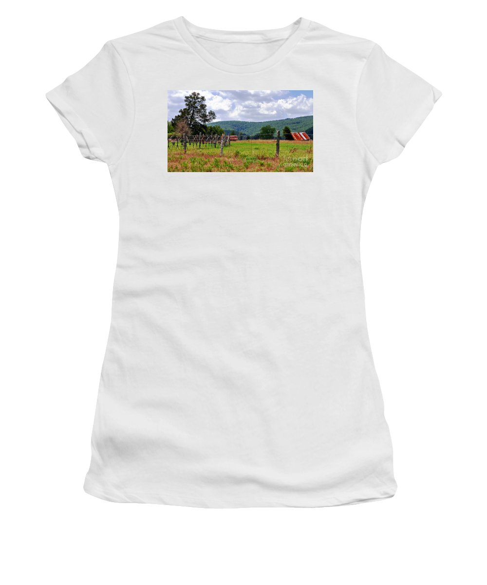 Arkansas Women's T-Shirt (Athletic Fit) featuring the photograph Arkansas Farmland by Lydia Holly