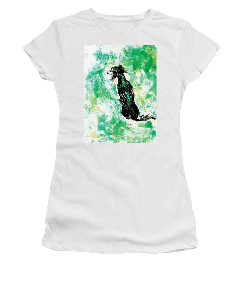 Saluki Women's T-Shirt featuring the mixed media Around The Bend by Cori Solomon