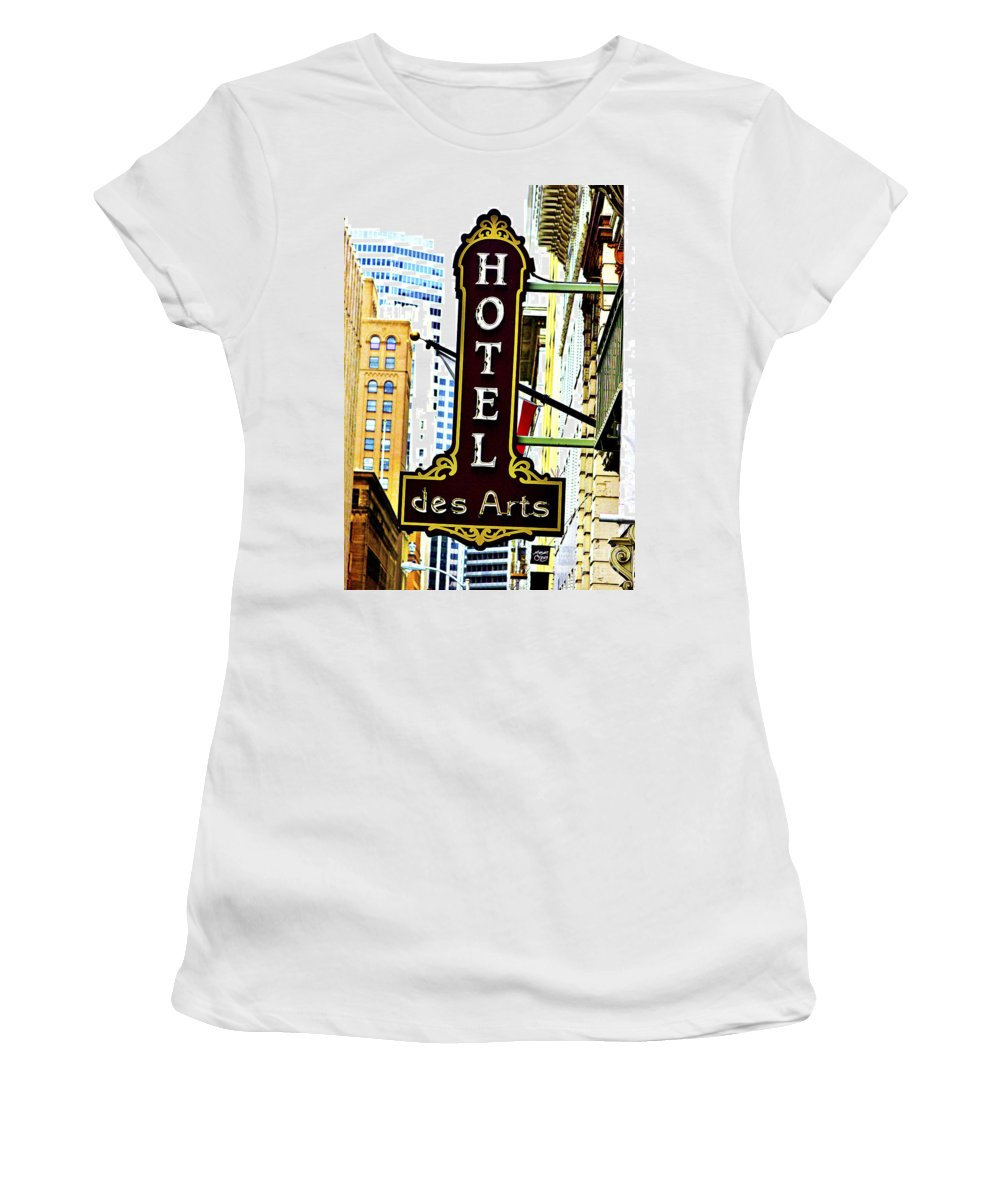 Streets Of San Francisco Women's T-Shirt (Athletic Fit) featuring the photograph Art Hotel by Digital Kulprits