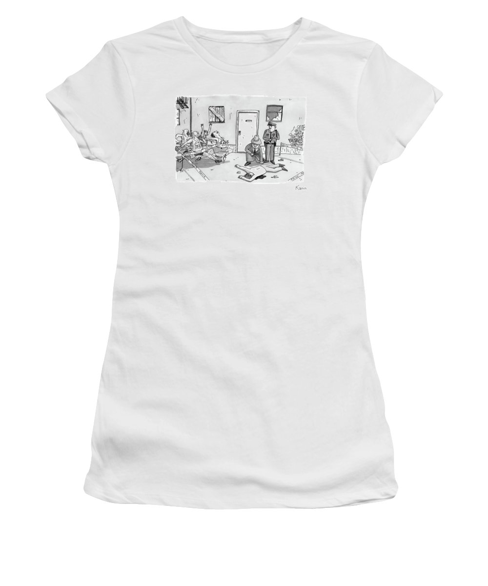 Police Women's T-Shirt featuring the drawing As Police And A Detective Examine A Murder Scene by Zachary Kanin