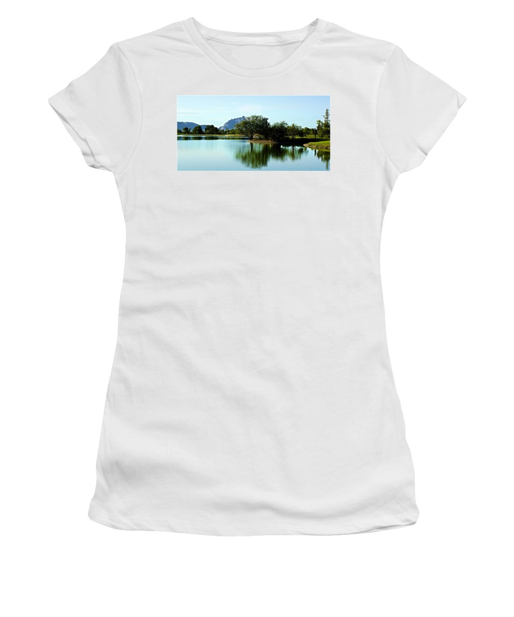 Lake Women's T-Shirt featuring the photograph At Fountain Park - View At Red Rock by Barbara Zahno