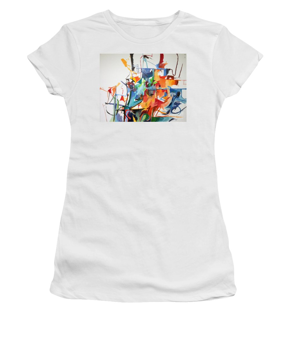 Torah Women's T-Shirt featuring the painting at the age of three years Avraham Avinu recognized his Creator 2 by David Baruch Wolk