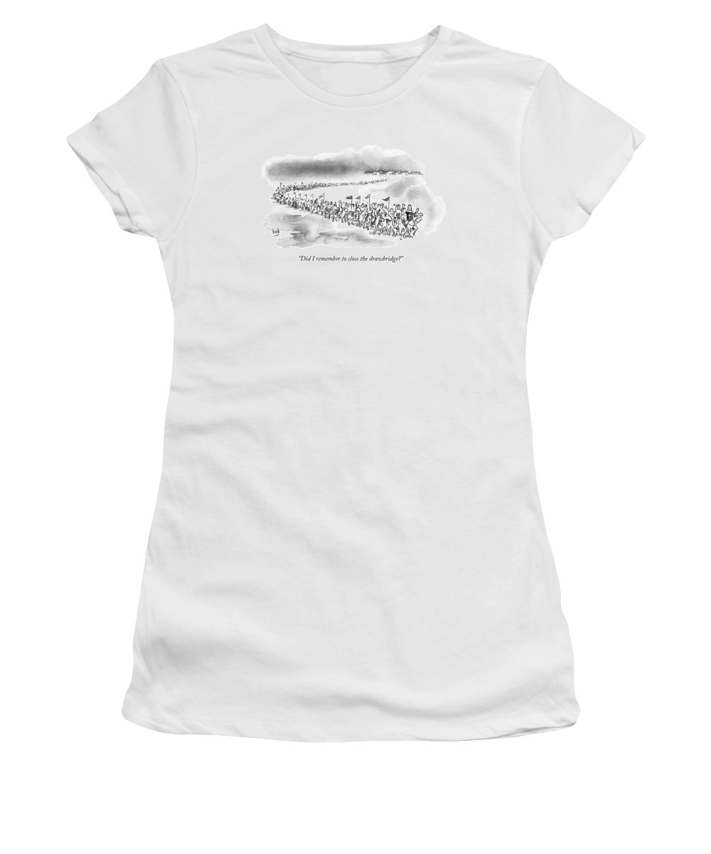 Drawbridge Women's T-Shirt featuring the drawing At The Front Of A Marching Army On Horseback by Bob Eckstein