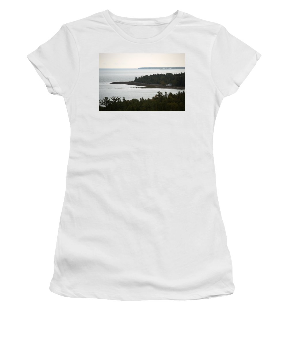 Lake Huron Women's T-Shirt (Athletic Fit) featuring the photograph Atop The Lighthouse by Linda Kerkau