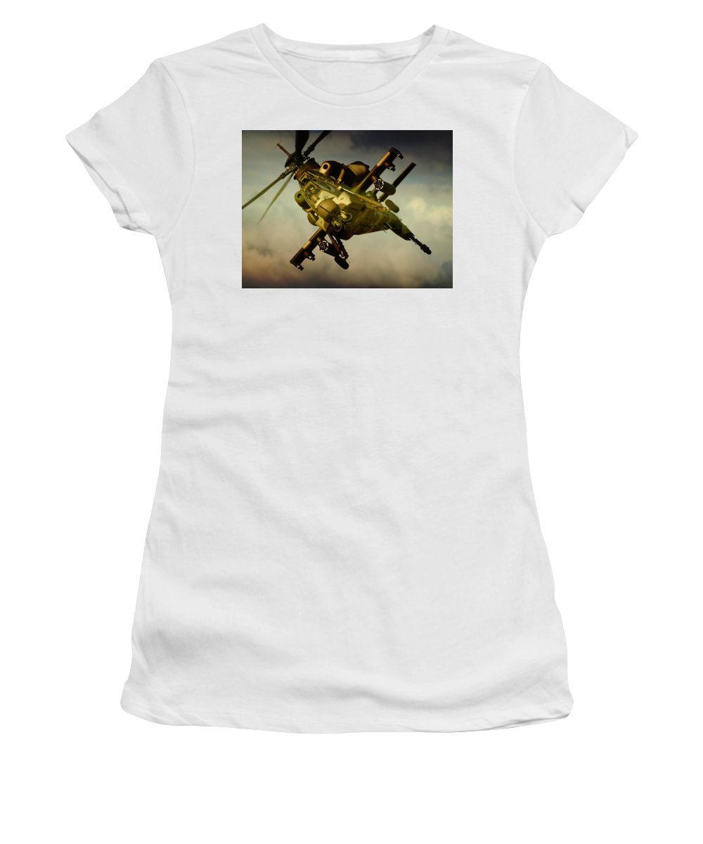 Atlas Rooivalk Women's T-Shirt (Athletic Fit) featuring the photograph Attacking Rooivalk by Paul Job
