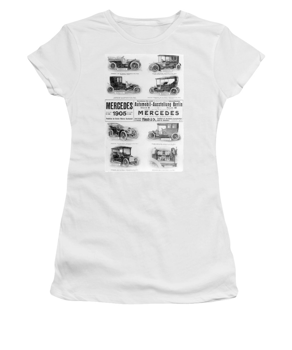1905 Women's T-Shirt (Athletic Fit) featuring the painting Automobile Ad, 1905 by Granger