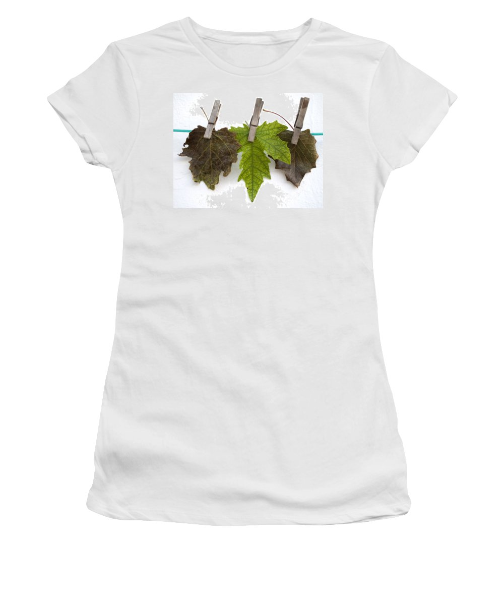 Nobody Women's T-Shirt featuring the photograph autumm is hanged out - Autumn color leaves by Pedro Cardona Llambias
