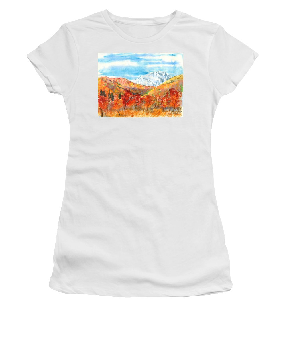 Mountains Women's T-Shirt featuring the painting Autumn Colors by Walt Brodis