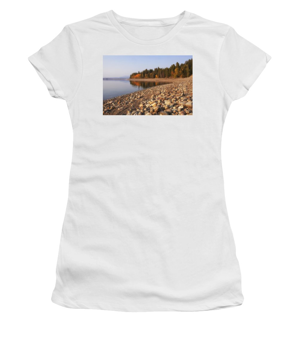 Autumn Women's T-Shirt (Athletic Fit) featuring the photograph Autumn Lake by Andrew Soundarajan