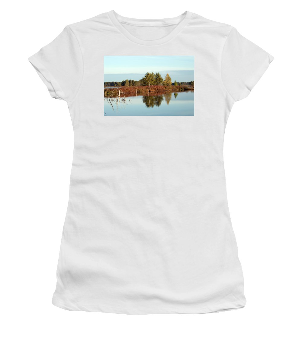 Wetland Women's T-Shirt (Athletic Fit) featuring the photograph Autumn by Linda Kerkau