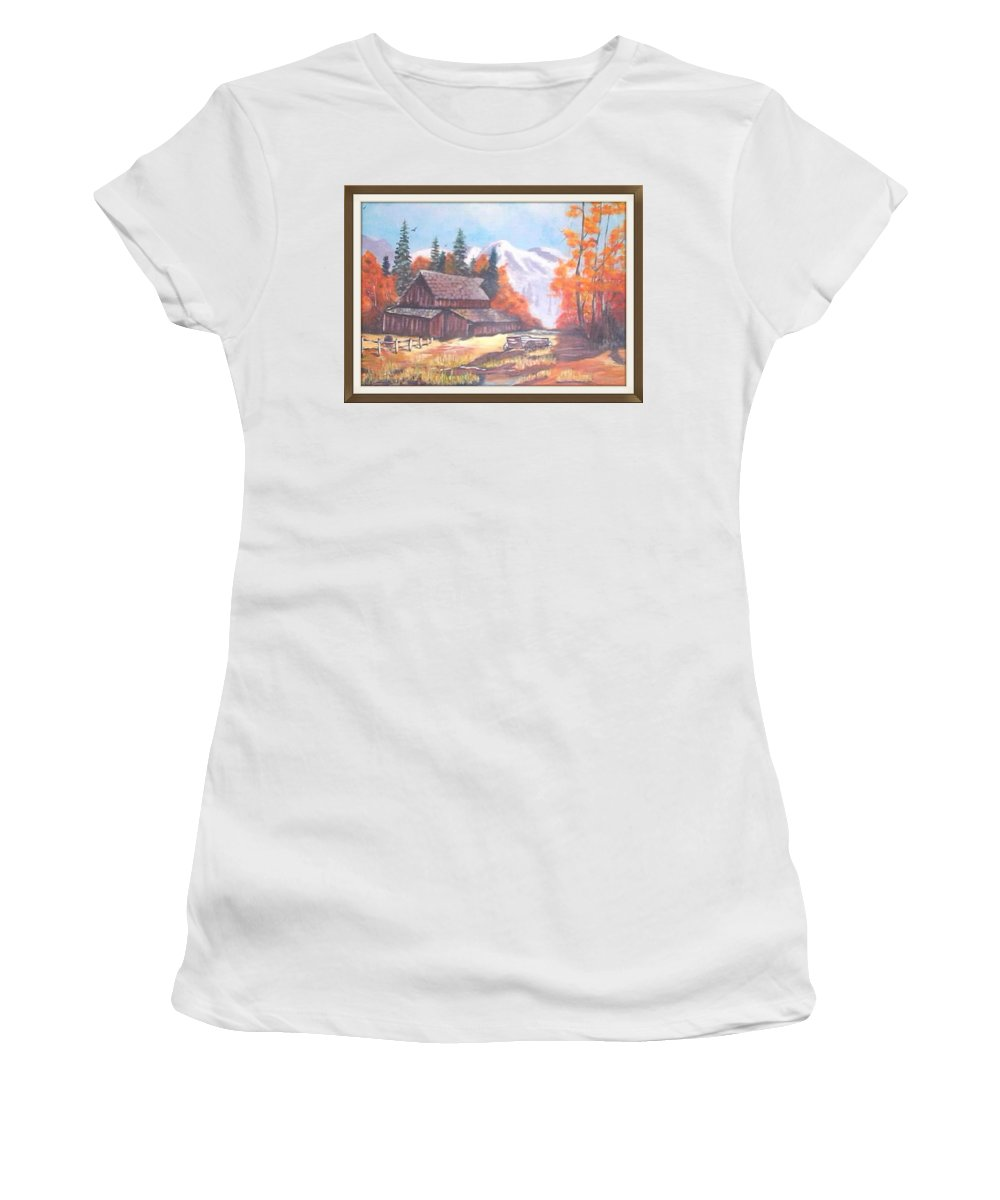 Barns Women's T-Shirt featuring the painting Autumn On The Farm. by Catherine Swerediuk