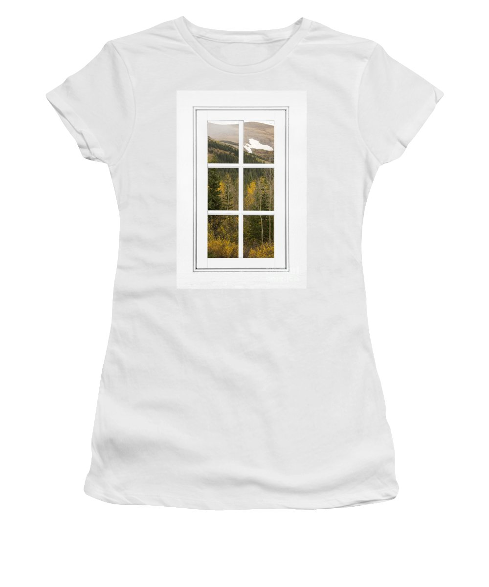 Windows Women's T-Shirt (Athletic Fit) featuring the photograph Autumn Rocky Mountain Glacier View Through A White Window Frame by James BO Insogna