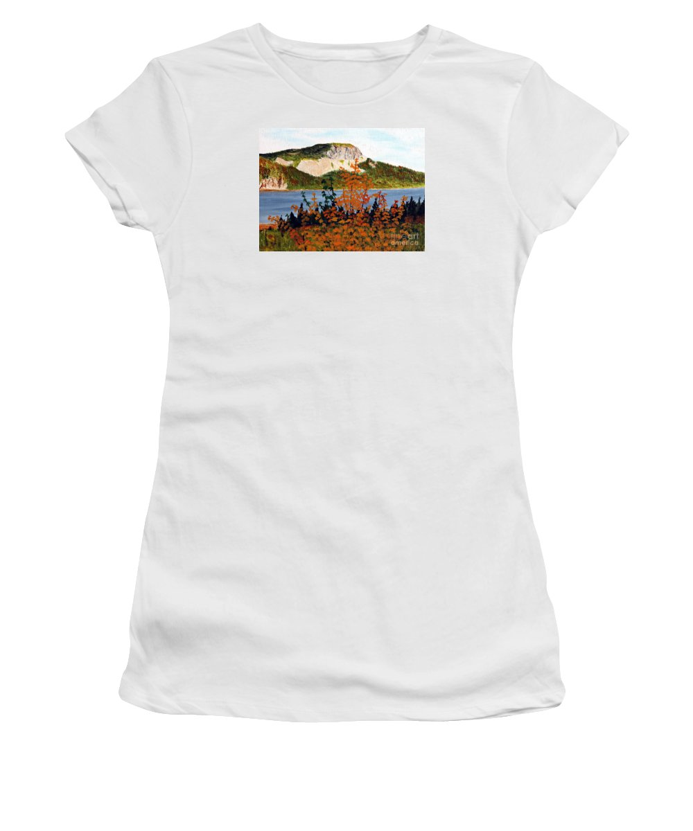 Barbara Griffin Women's T-Shirt (Athletic Fit) featuring the painting Autumn Sunset On The Hills by Barbara Griffin