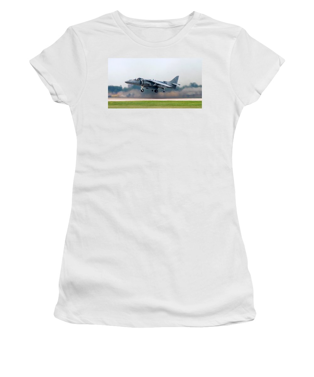 3scape Photos Women's T-Shirt (Athletic Fit) featuring the photograph Av-8b Harrier by Adam Romanowicz