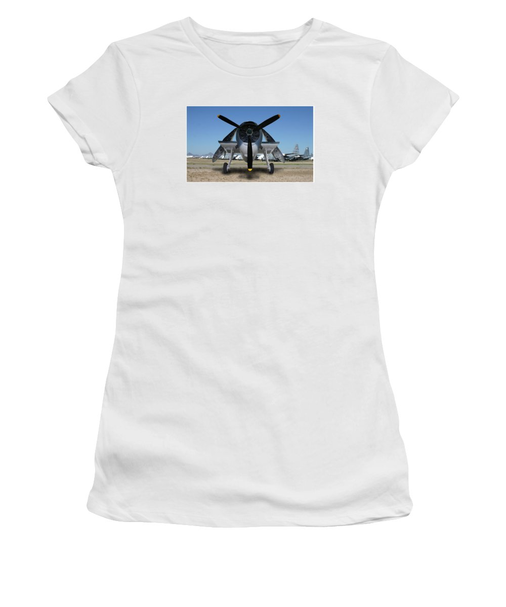 The 1943 Navy Tbf Avenger Was Designed And Built Initially By The Grumman Company And Designated Tbf Women's T-Shirt featuring the photograph Abstract Avenger T B M Moffett Field by Jack Pumphrey