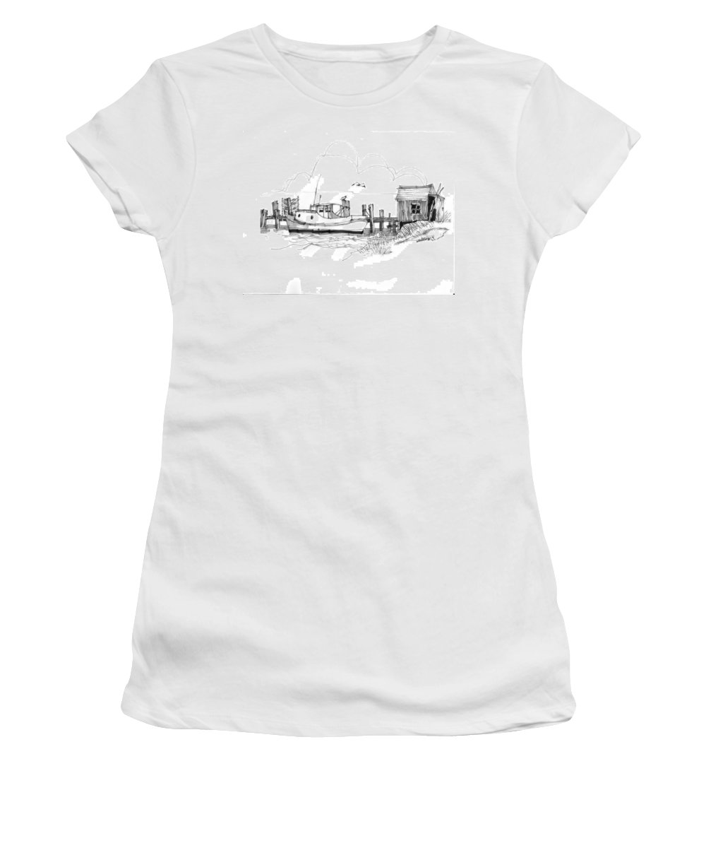 Ocracoke Women's T-Shirt (Athletic Fit) featuring the drawing Awaiting Bluefish Run Ocracoke Nc 1970s by Richard Wambach