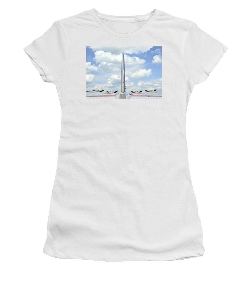 B-17 Tail Fin Women's T-Shirt featuring the photograph B-17 Tail Fin by Allen Beatty