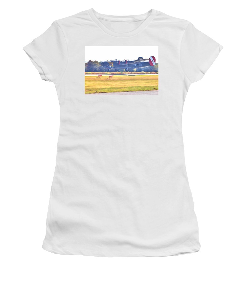 9122 Women's T-Shirt (Athletic Fit) featuring the photograph B-24 Landing by Gordon Elwell