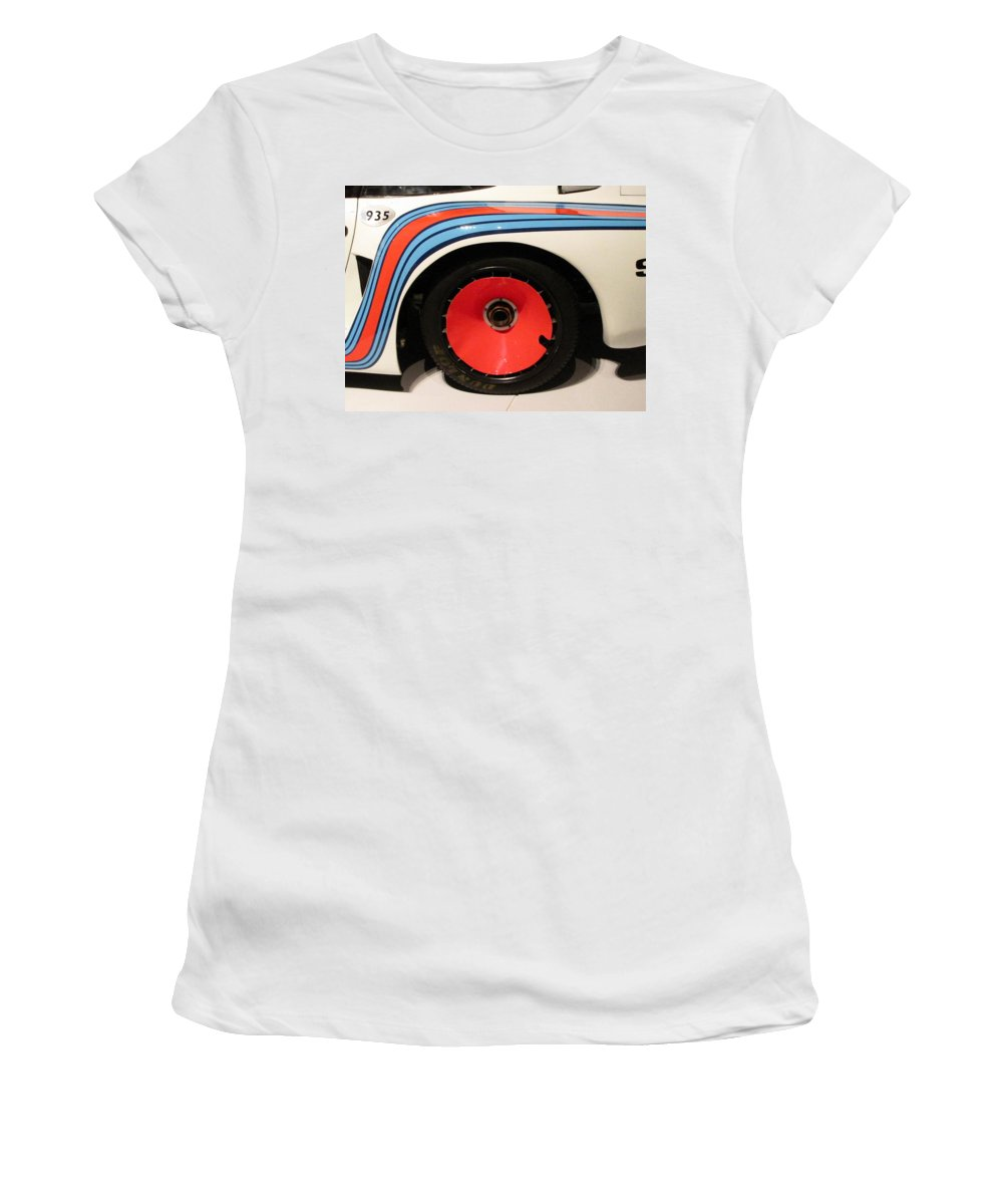 1977 Porsche 935 baby Women's T-Shirt (Athletic Fit) featuring the photograph Baby Wheel by Kelly Mezzapelle