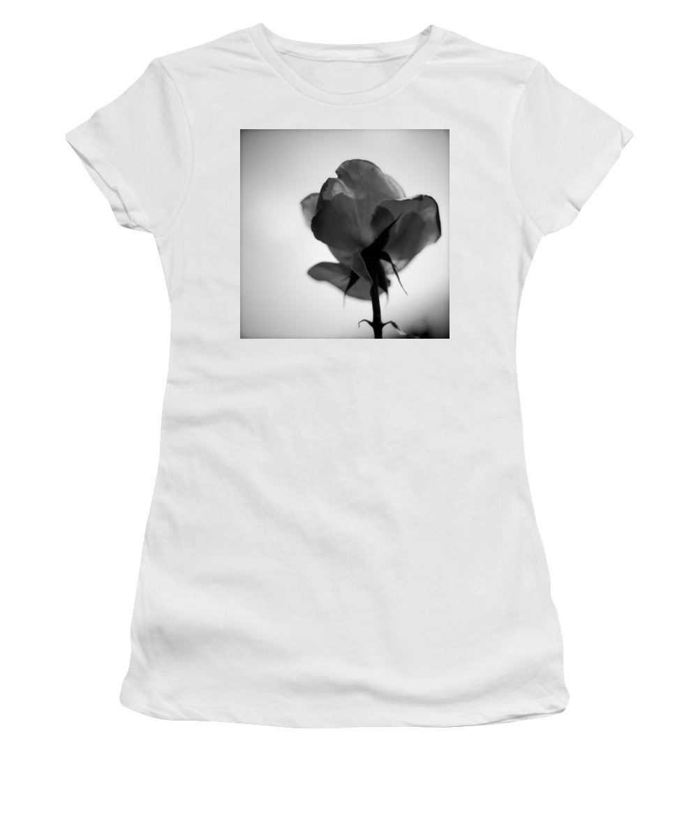 Rose Women's T-Shirt featuring the photograph Backlit Rose Black And White by Ron White