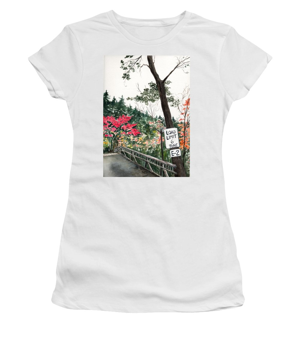 Watercolor Women's T-Shirt (Athletic Fit) featuring the painting Backwoods Bridge by Brenda Owen