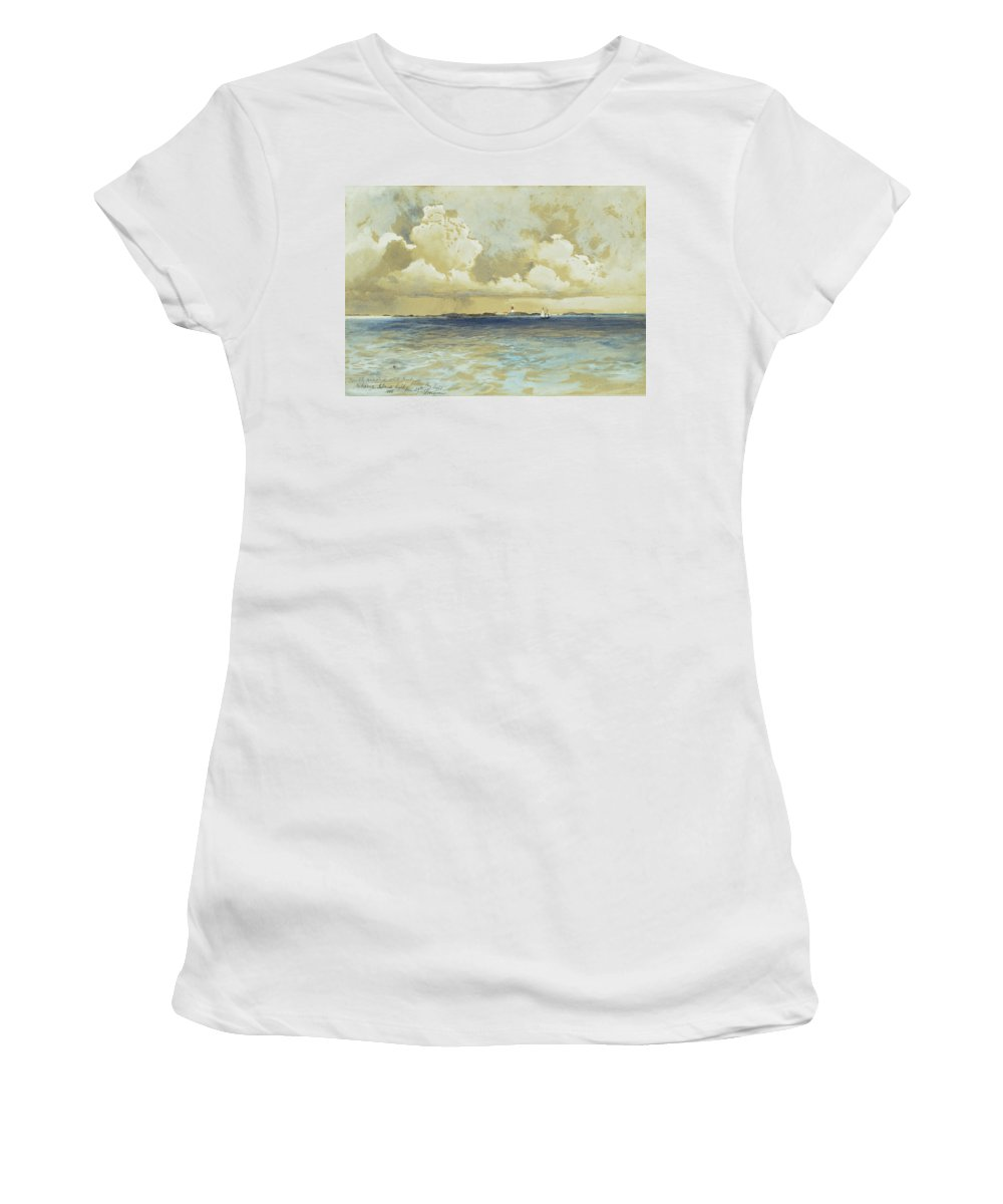 Watercolor Women's T-Shirt (Athletic Fit) featuring the painting Bahama Island Light by Thomas Moran