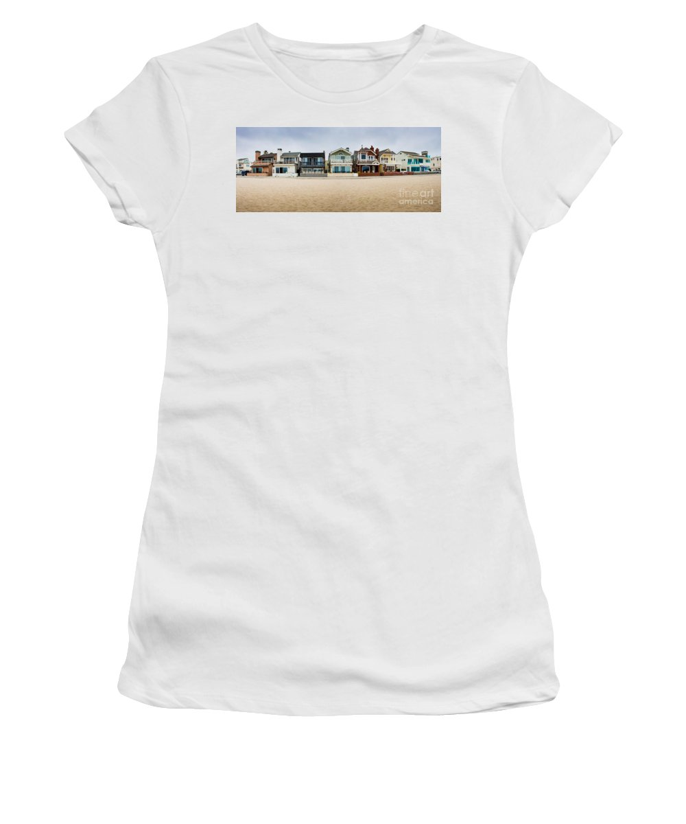 Balboa Women's T-Shirt (Athletic Fit) featuring the photograph Balboa Penninsula Panorama by Thomas Marchessault