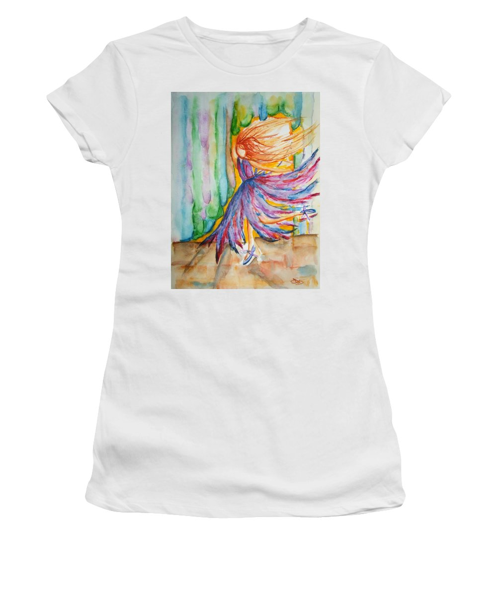 Ballet Women's T-Shirt (Athletic Fit) featuring the painting Ballerina Curtain Call by Elaine Duras