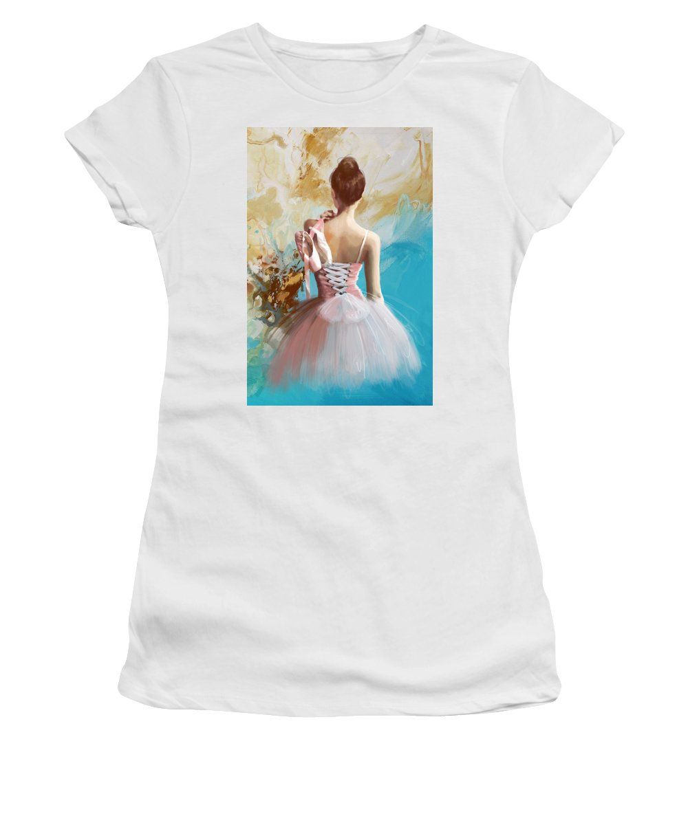 Women Women's T-Shirt featuring the painting Ballerina's Back by Corporate Art Task Force