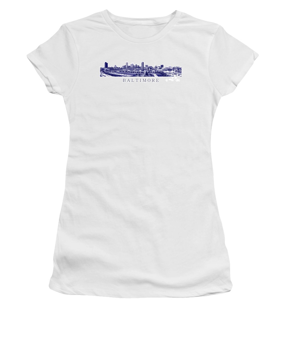 Baltimore Women's T-Shirt featuring the photograph Baltimore Blueprint by Olivier Le Queinec