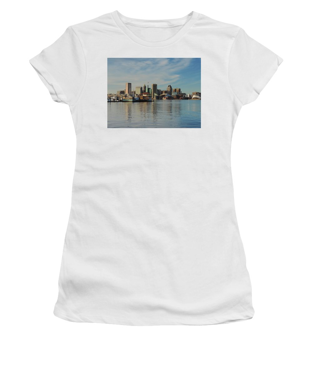 Baltimore Women's T-Shirt (Athletic Fit) featuring the photograph Baltimore Skyline Across The Harbor by Cityscape Photography