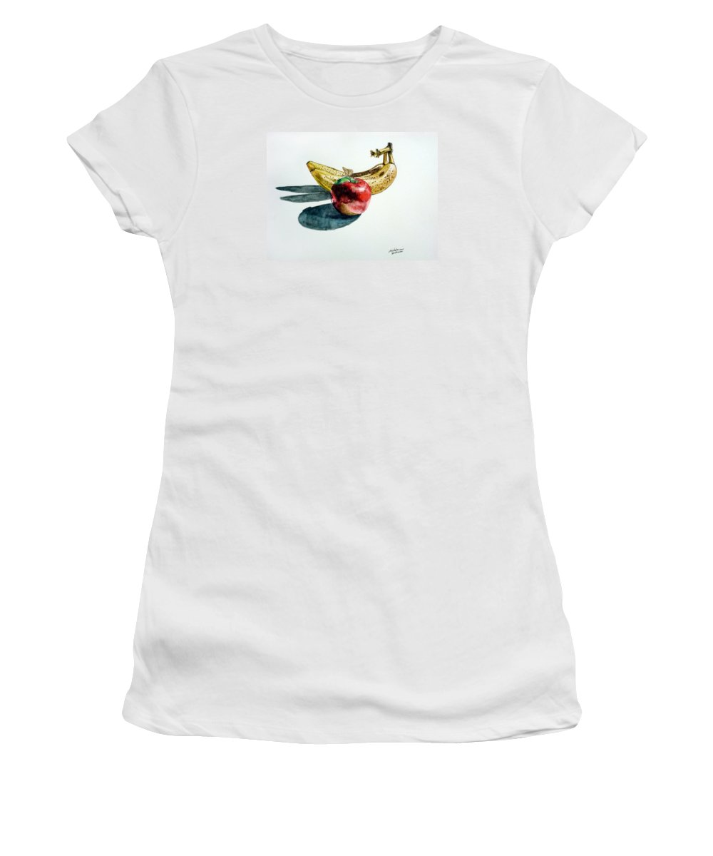 Banana Women's T-Shirt (Athletic Fit) featuring the painting Bananas And An Apple by Christopher Shellhammer