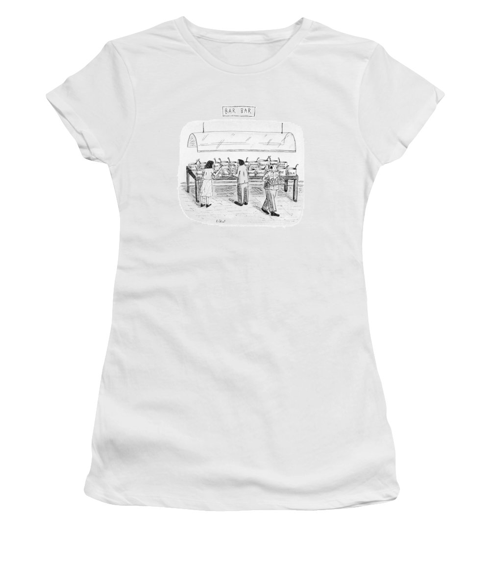 Bars Women's T-Shirt featuring the drawing Bar Bar by Roz Chast