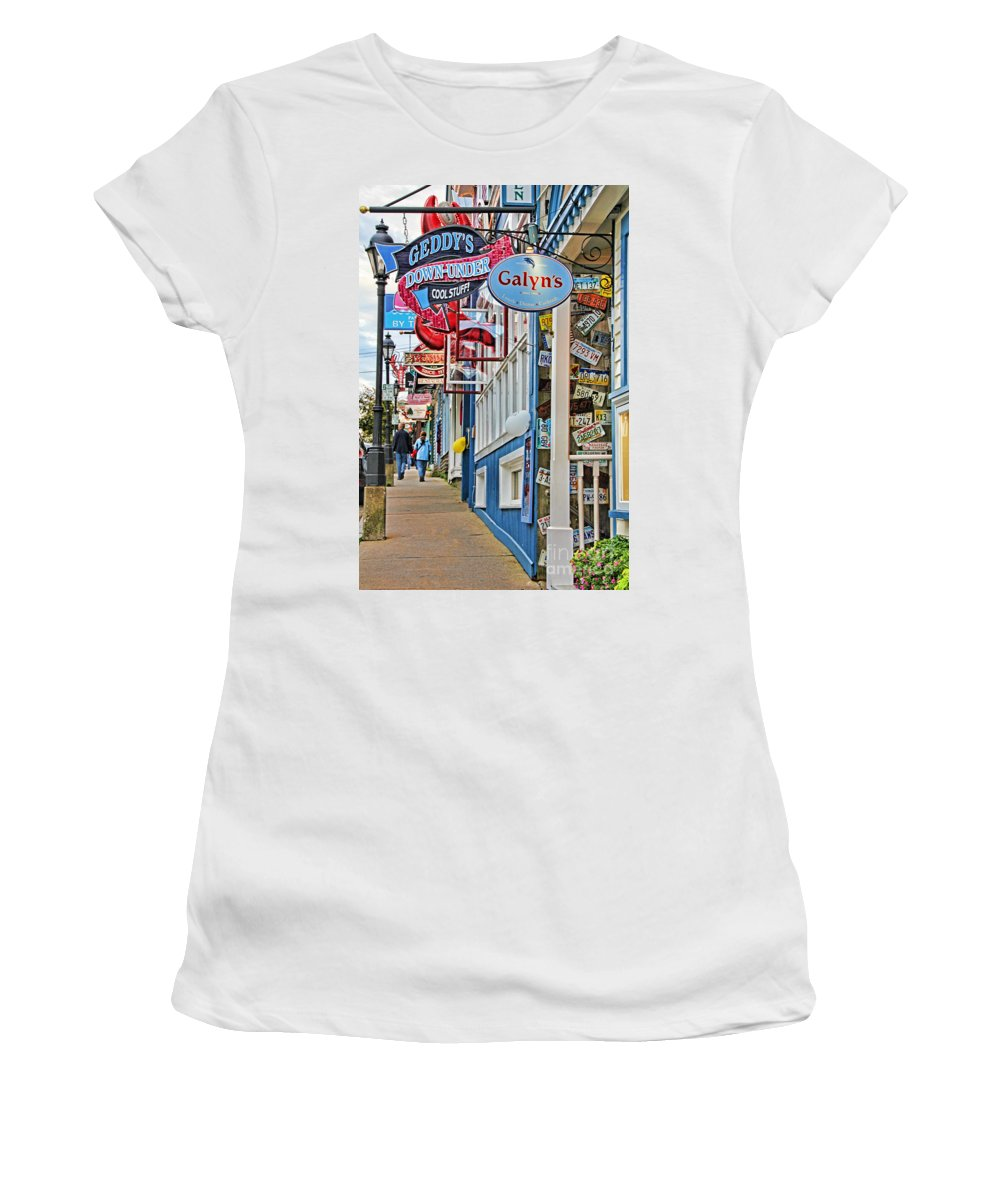 Bar Harbor Women's T-Shirt (Athletic Fit) featuring the photograph Bar Harbor Sidewalk by Jack Schultz