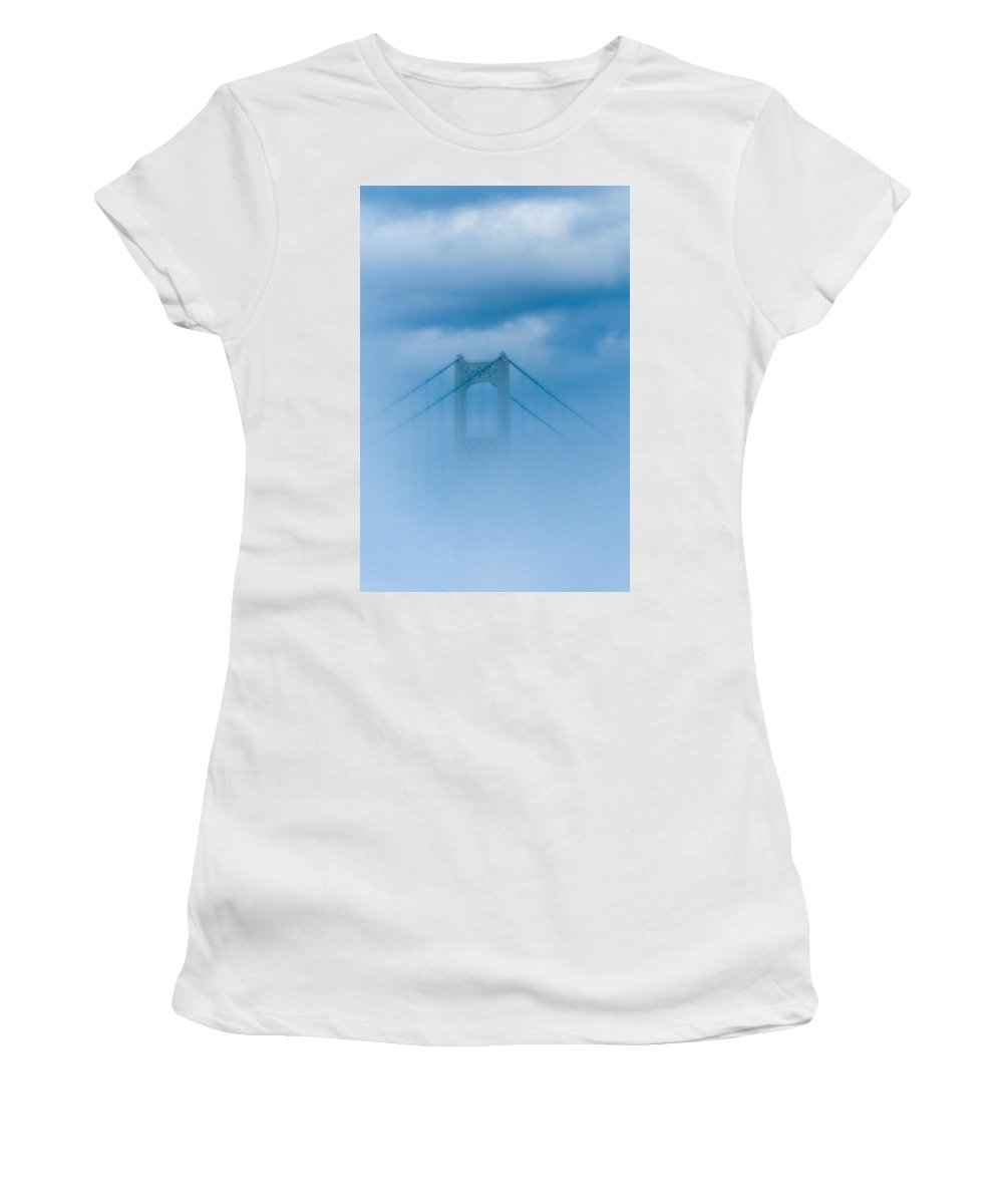 Mackinaw Bridge Women's T-Shirt (Athletic Fit) featuring the photograph Barely Mackinaw by Sheri Bartoszek