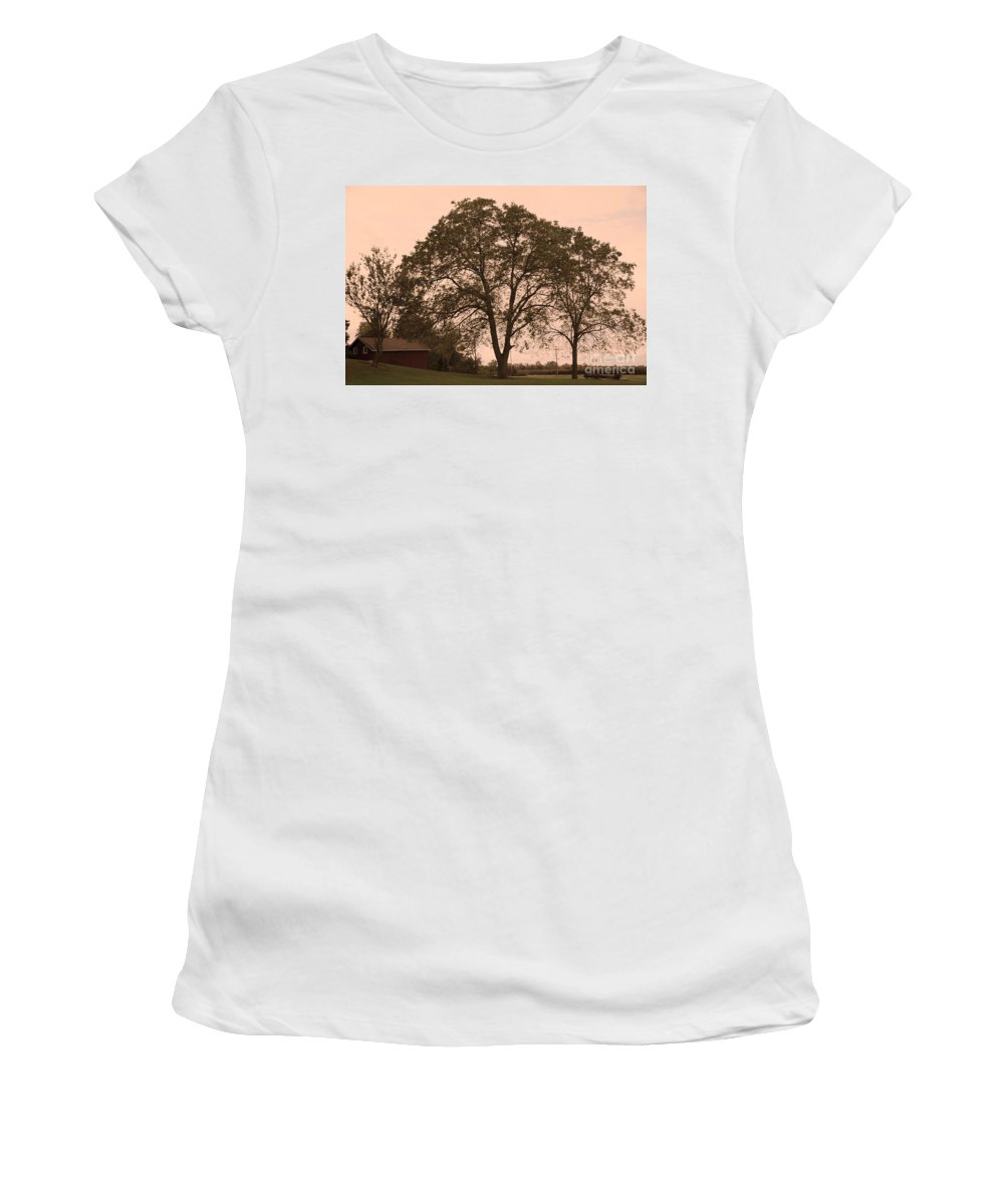 Barn Women's T-Shirt (Athletic Fit) featuring the photograph Barn At Twlight by Kathleen Struckle