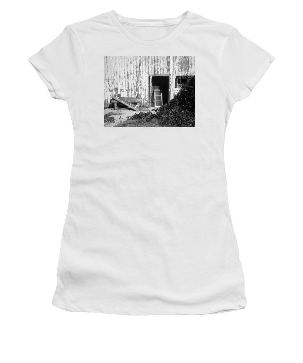 Barn Women's T-Shirt (Athletic Fit) featuring the photograph Barn Door by Richard Kitchen